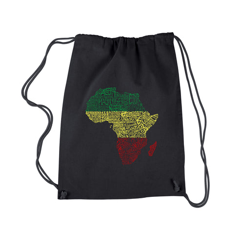 LA Pop Art Drawstring Backpack - Countries in Africa
