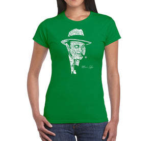 LA Pop Art Women's Word Art T-Shirt - AL CAPONE-ORIGINAL GANGSTER