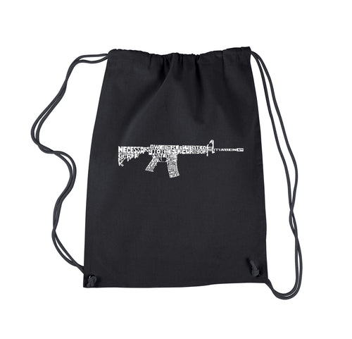 LA Pop Art Drawstring Backpack - AR15 2nd Amendment Word Art