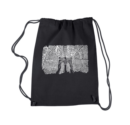 LA Pop Art Drawstring Backpack - Brooklyn Bridge