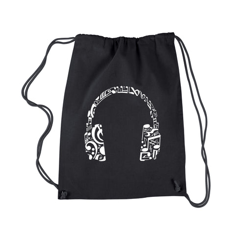 LA Pop Art Drawstring Backpack - Music Note Headphones