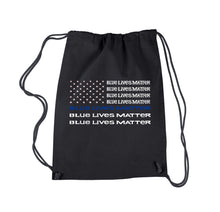 Load image into Gallery viewer, LA Pop Art Drawstring Backpack - Blue Lives Matter