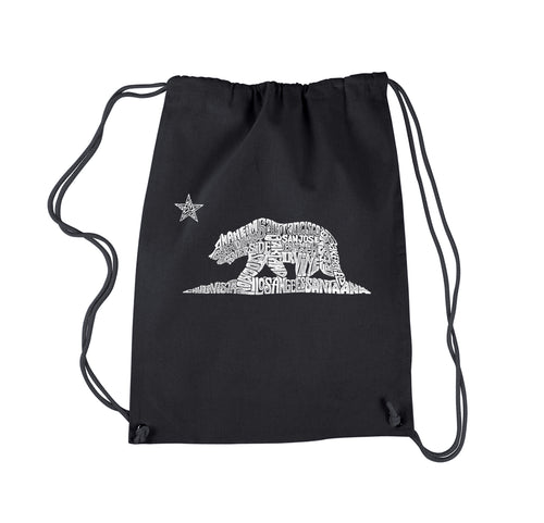 LA Pop Art Drawstring Backpack - California Bear