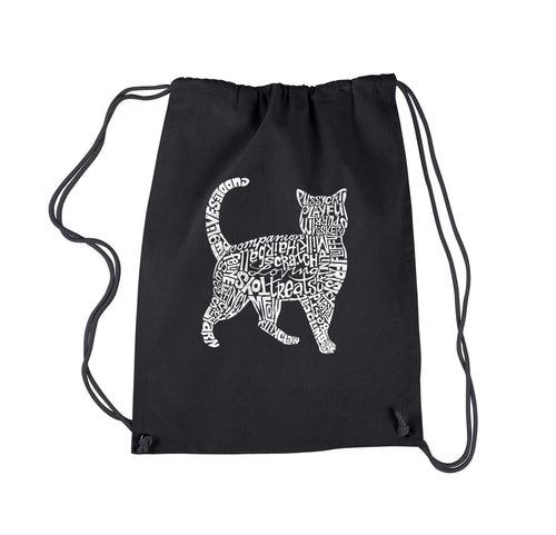 LA Pop Art Drawstring Backpack - Cat