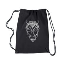 Load image into Gallery viewer, LA Pop Art Drawstring Backpack - THE DEVIL'S NAMES
