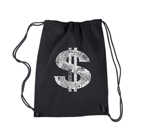 LA Pop Art Drawstring Backpack - Dollar Sign