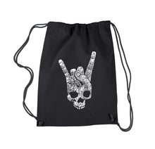 Load image into Gallery viewer, LA Pop Art Drawstring Backpack - Heavy Metal Genres