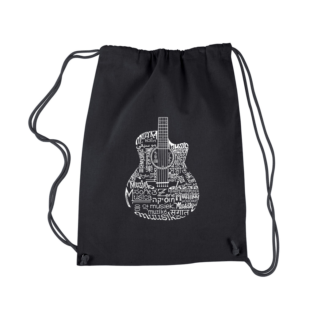 LA Pop Art Drawstring Backpack - Languages Guitar