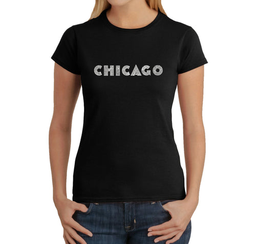 LA Pop Art Women's Word Art T-Shirt - CHICAGO NEIGHBORHOODS