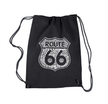 Load image into Gallery viewer, LA Pop Art Drawstring Backpack - Life is a Highway