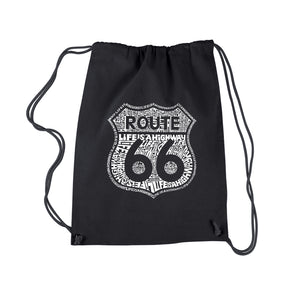 LA Pop Art Drawstring Backpack - Life is a Highway