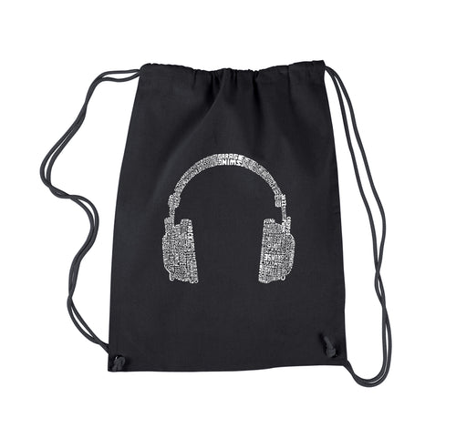 LA Pop Art Drawstring Backpack - 63 DIFFERENT GENRES OF MUSIC