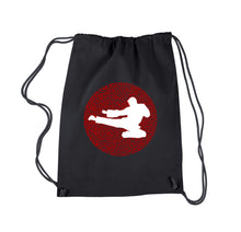 Load image into Gallery viewer, LA Pop Art Drawstring Backpack - Types of Martial Arts