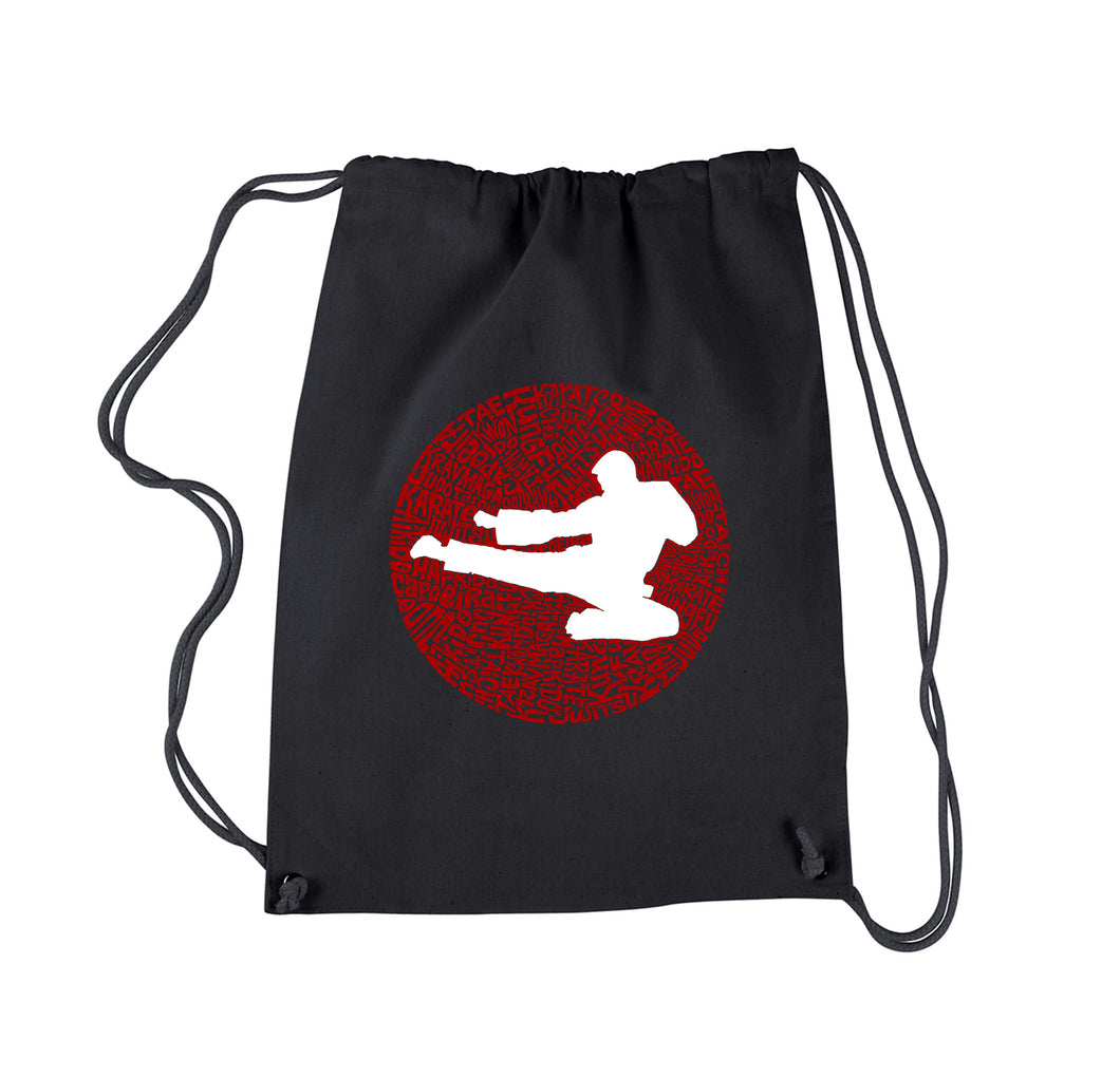 LA Pop Art Drawstring Backpack - Types of Martial Arts