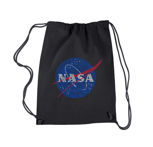 LA Pop Art  Drawstring Word Art Backpack - NASA's Most Notable Missions