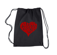 Load image into Gallery viewer, LA Pop Art Drawstring Backpack - All You Need Is Love