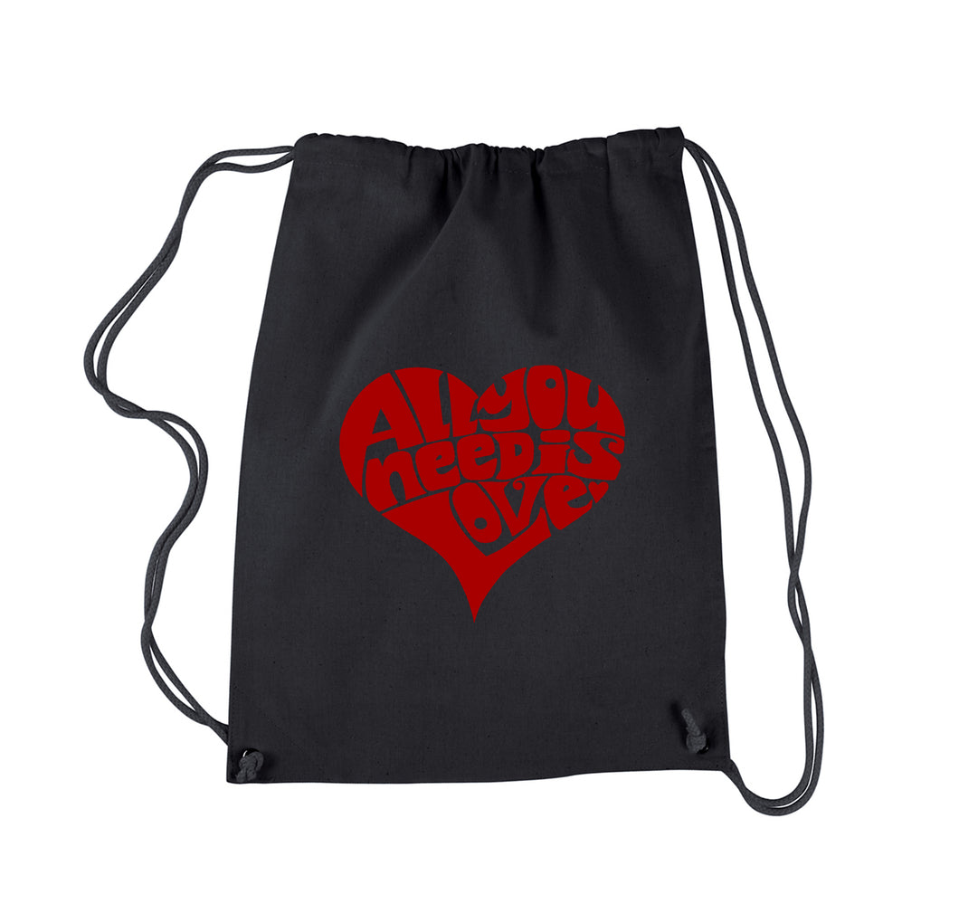 LA Pop Art Drawstring Backpack - All You Need Is Love