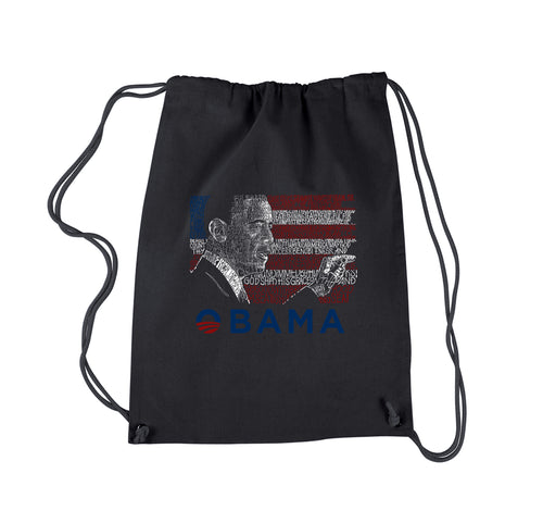 LA Pop Art Drawstring Backpack - BARACK OBAMA - ALL LYRICS TO AMERICA THE BEAUTIFUL