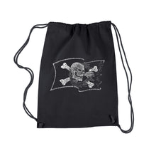 Load image into Gallery viewer, LA Pop Art Drawstring Backpack - FAMOUS PIRATE CAPTAINS AND SHIPS