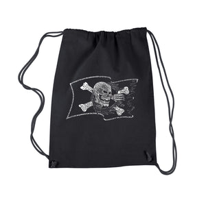 LA Pop Art Drawstring Backpack - FAMOUS PIRATE CAPTAINS AND SHIPS
