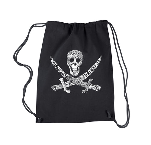 LA Pop Art Drawstring Backpack - PIRATE CAPTAINS, SHIPS AND IMAGERY