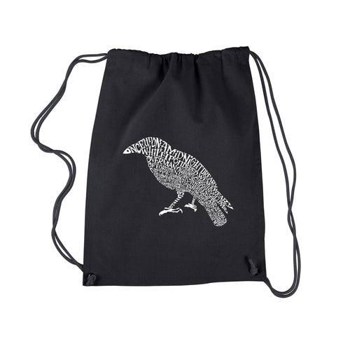 LA Pop Art  Drawstring Word Art Backpack - Edgar Allan Poe's The Raven