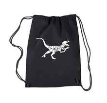 Load image into Gallery viewer, LA Pop Art Drawstring Backpack - Velociraptor