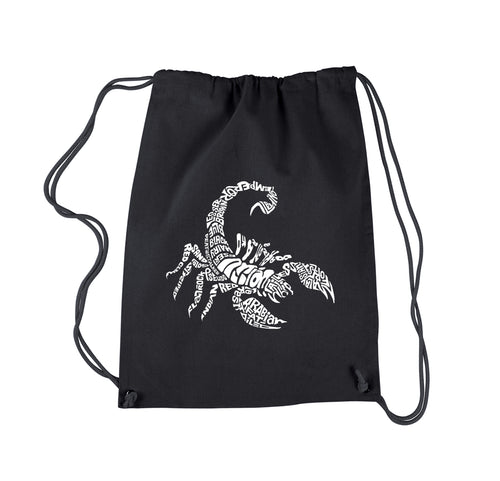 LA Pop Art  Drawstring Word Art Backpack - Types of Scorpions