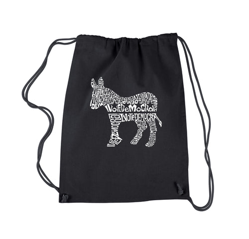 LA Pop Art Drawstring Backpack - I Vote Democrat