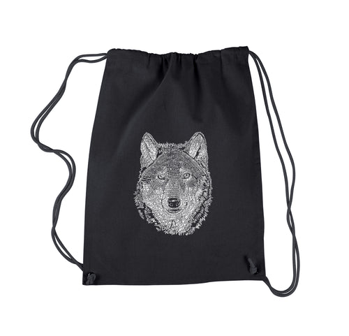 LA Pop Art Drawstring Backpack - Wolf