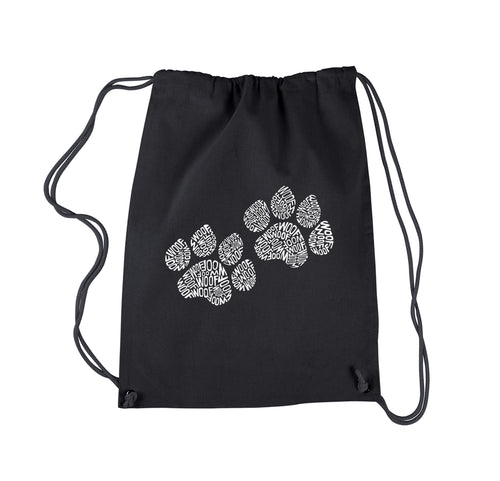 LA Pop Art  Drawstring Backpack - Woof Paw Prints