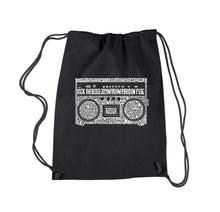 Load image into Gallery viewer, LA Pop Art Drawstring Backpack - Greatest Rap Hits of The 1980's