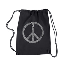 Load image into Gallery viewer, LA Pop Art Drawstring Backpack - EVERY MAJOR WORLD CONFLICT SINCE 1770