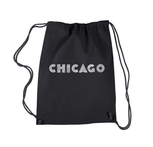 LA Pop Art Drawstring Backpack - CHICAGO NEIGHBORHOODS