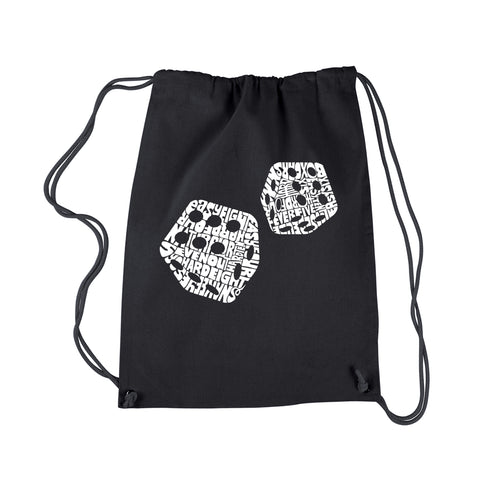 LA Pop Art Drawstring Backpack - DIFFERENT ROLLS THROWN IN THE GAME OF CRAPS