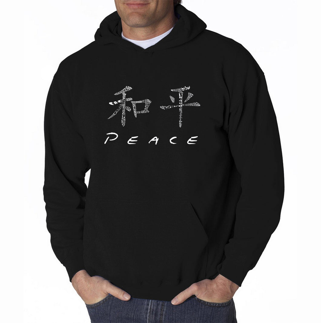 LA Pop Art Men's Word Art Hooded Sweatshirt - CHINESE PEACE SYMBOL