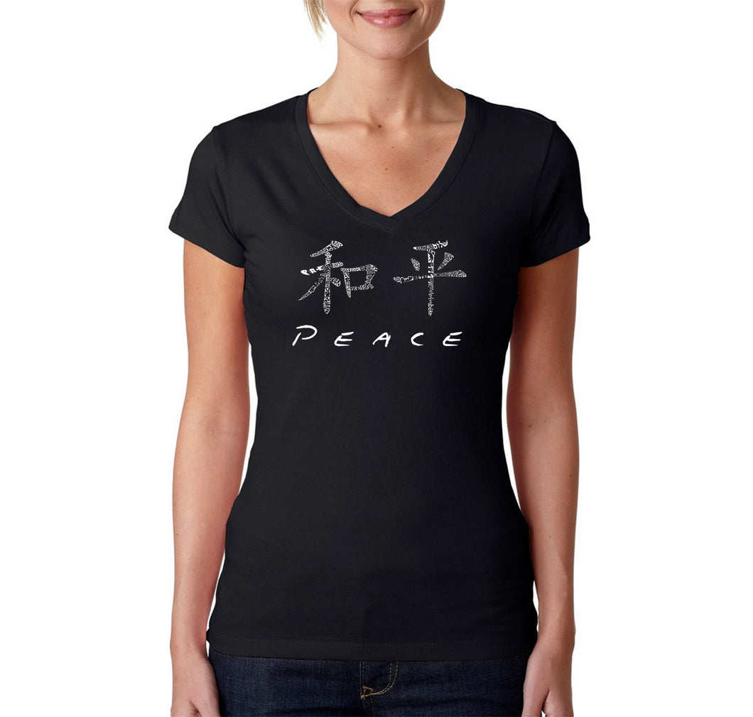 LA Pop Art Women's Word Art V-Neck T-Shirt - CHINESE PEACE SYMBOL