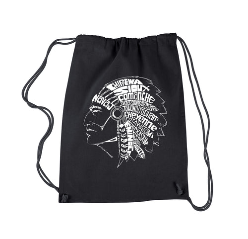 LA Pop Art Drawstring Backpack - POPULAR NATIVE AMERICAN INDIAN TRIBES