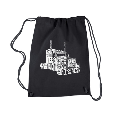 LA Pop Art Drawstring Backpack - KEEP ON TRUCKIN'