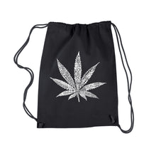 Load image into Gallery viewer, LA Pop Art Drawstring Backpack - 50 DIFFERENT STREET TERMS FOR MARIJUANA
