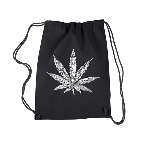 LA Pop Art Drawstring Backpack - 50 DIFFERENT STREET TERMS FOR MARIJUANA