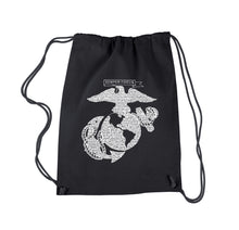 Load image into Gallery viewer, LA Pop Art Drawstring Backpack - LYRICS TO THE MARINES HYMN