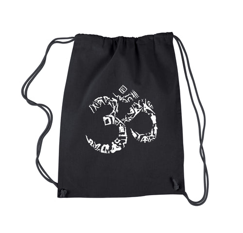 LA Pop Art Drawstring Backpack - THE OM SYMBOL OUT OF YOGA POSES