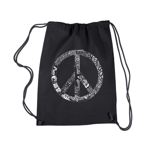 LA Pop Art Drawstring Backpack - PEACE, LOVE, & MUSIC
