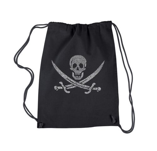 LA Pop Art Drawstring Backpack - LYRICS TO A LEGENDARY PIRATE SONG