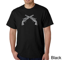 Load image into Gallery viewer, LA Pop Art Men's Word Art T-shirt - CROSSED PISTOLS