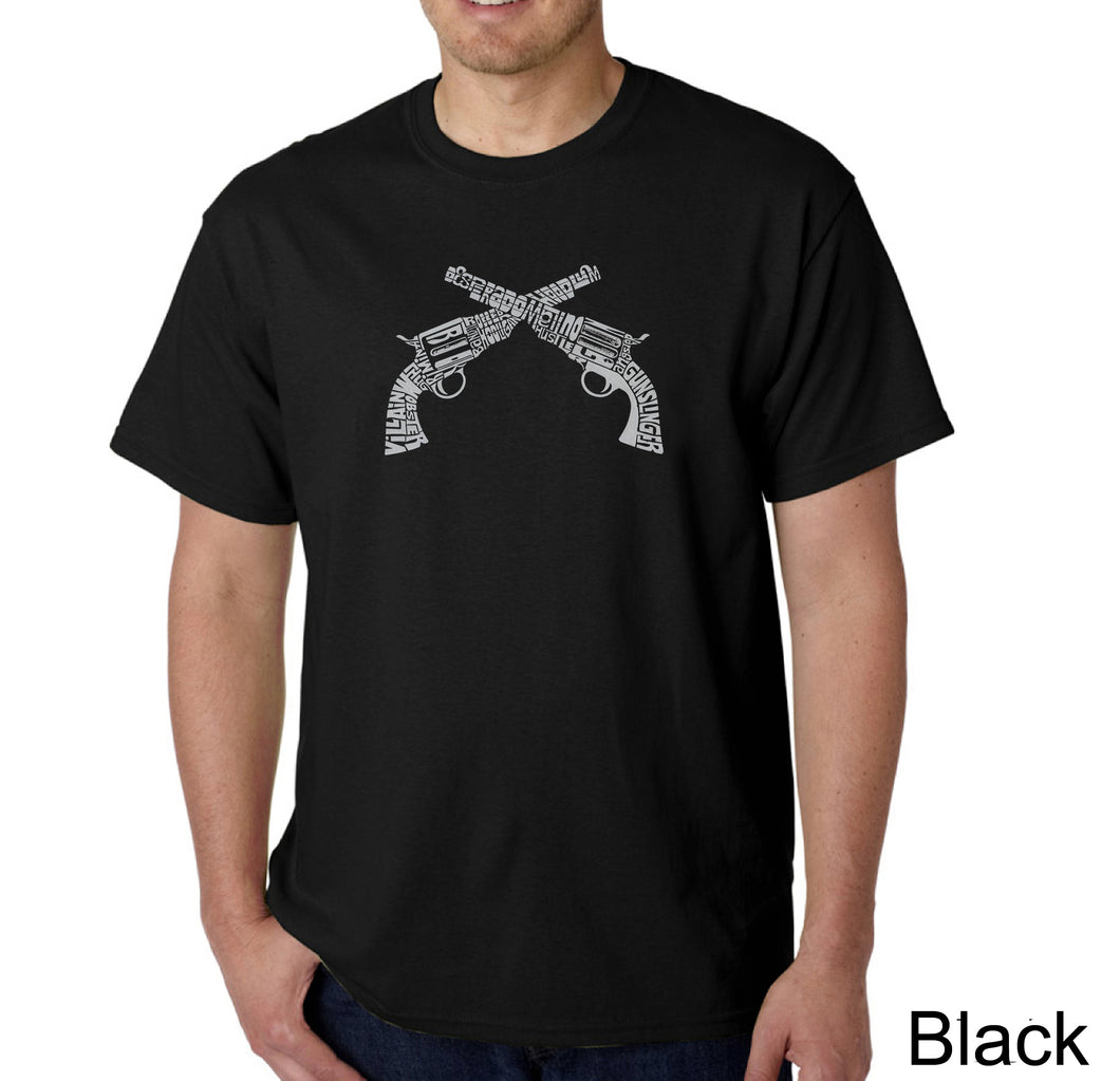 LA Pop Art Men's Word Art T-shirt - CROSSED PISTOLS