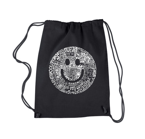 LA Pop Art Drawstring Backpack - SMILE IN DIFFERENT LANGUAGES