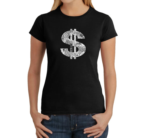 LA Pop Art Women's Word Art T-Shirt - Dollar Sign
