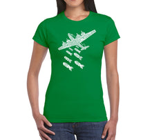 Load image into Gallery viewer, LA Pop Art Women's Word Art T-Shirt - DROP BEATS NOT BOMBS
